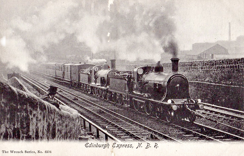 598 - Holmes NBR Class N LNER Class D25 4-4-0 - built 1887 by Cowlairs Works - 1911 rebuilt - 1923 to LNER No.9598 - 10/30 withdrawn from Haymarket MPD - seen here attacking the very steep, rope-assisted Cowlairs Incline with a sister loco.