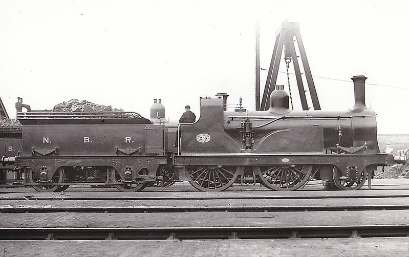 235 - Edinburgh & Glasgow Railway 2-4-0 - built 1865 by Cowlairs Works as E&GR No.12 DUNBAR - 1865 to NBR as No.235, 1901 to NBR No.1024 - 1914 withdrawn - seen here at Cowlairs.