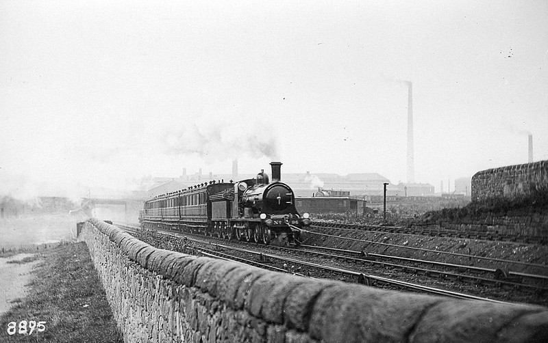 696 - Holmes NBR Class N 'West Highland Bogie' LNER Class D35 4-4-0 - built 1894 by Cowlairs Works - 1921 to NBR No.1448, 1924 to LNER No.10448 - 1924 withdrawn - seen here under rope haulage on Cowlairs Incline.