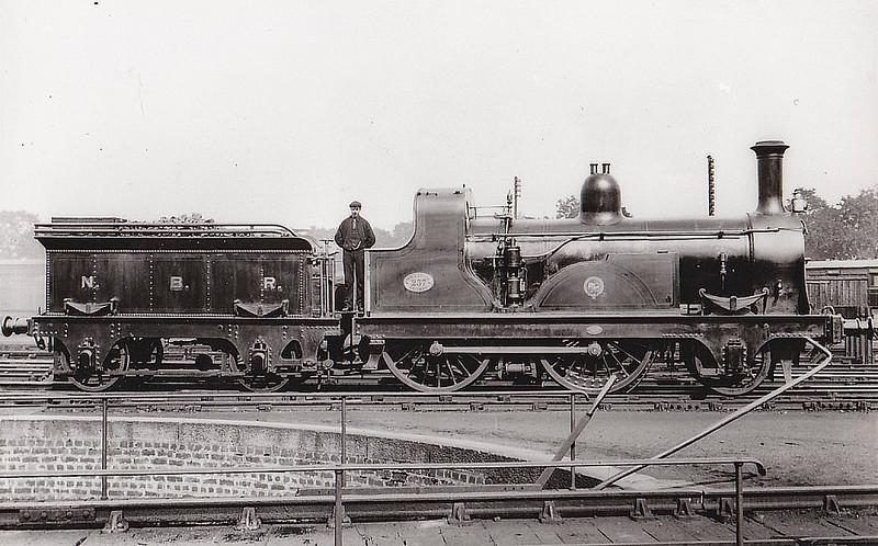237 - Edinburgh & Glasgow Railway 2-4-0 - built 1860 by Beyer Peacock Ltd. - 1865 to NBR as No.237 - rebuilt by Drummond - seen here at Perth.