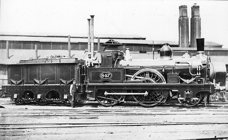 847 - Fletcher NER 901 Class 2-4-0 - built 1873 by Beyer Peacock Ltd. - 1914 withdrawn - seen here as built.