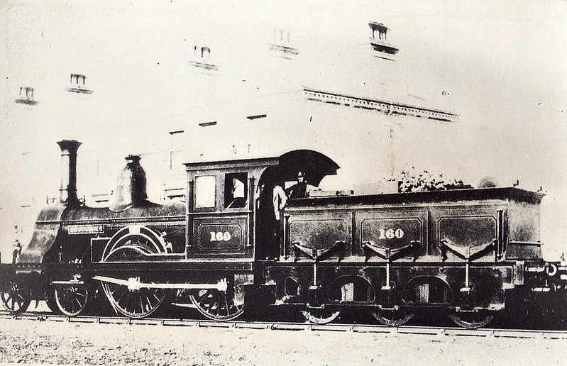 160 BROUGHAM - Bouch SDR 4-4-0 - built 1860 by Robert Stephenson & Co. for South Durham & Lancashire Railway - 1862 to Stockton & Darlington Railway - 1854 to NER as No.1160 - 1888 withdrawn.