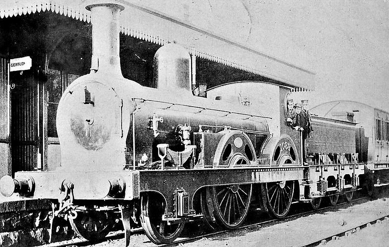 1038 - Stockton & Darlington Railway 2-4-0 - built 1847 by Darlington Works as S&DR No.38 ROKEBY- 1854 to NER as No.1038 - 1875 wirhdrawn - posted October 8th, 1905.