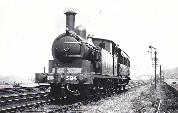 384 - Worsdell NER Class O LNER Class G5 0-4-4T - built 10/01 by Darlington Works - 11/46 to LNER No.7341, 11/48 to BR No.67341 - 11/58 withdrawn from 53A Hull Dairycoates - seen here near Low Fell on an Engineer's Special in June 1920.