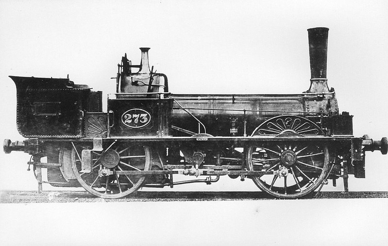 273 - York & North Midland Railway 0-2-0-2WT - built 1840 by EB Wilson & Co. as Y&NM No.33 - 1954 to NER No.273 - rebuilt by NER as 0-4-0WT - 1878 withdrawn - this appears to be some kind of early geared loco driving from a central jackshaft.