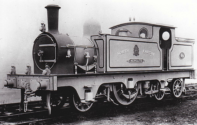 66 AEROLITE - Worsdell NER Class X1 2-2-4T - built 1869 as 2-2-2WT - 1886 side tanks added - 1892 rebuilt as 20cylinder compound 4-2-2T - 1902 rebuilt as simple 2-2-4T, as seen above - throughout the LNER's ownership, it was based at Darlington and was used by the Chief Assistant Mechanical Engineer for inspection duties - 1933 withdrawn, preserved in York Railway Museum.
