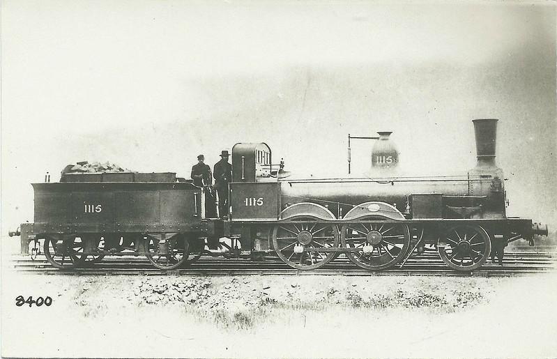 1115 - Stockton & Darlington Railway 2-4-0 - built 1856 by Robert Stephenson & Co. - 1877 withdrawn.