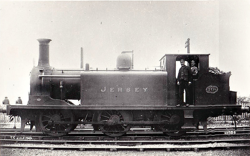 108 JERSEY - Stroudley Class E1 0-6-0T - built 11/1876 by Brighton Works - 1916 to LBSCR No.608, 11/28 rebuilt as Class E1 0-6-2T, 1931 to SR No.2608, 05/51 to BR No.32608 - 05/57 withdrawn from 72E Barnstape Junction - seen in 07/03.