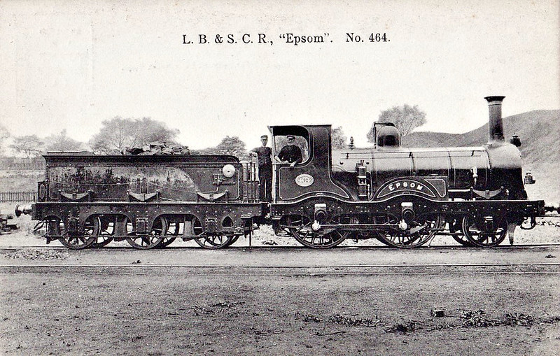 464 EPSOM - Craven LBSCR Mixed Traffic Class 2-4-0 - built 11/1854 by Sharp Stewart as LBSCR No.40 - 05/72 rebuilt by Stroudley and named EPSOM - 01/1878 to LBSCR No.260 EPSOM, 10/1881 to LBSCR No.464 EPSOM - 09/1891 withdrawn.
