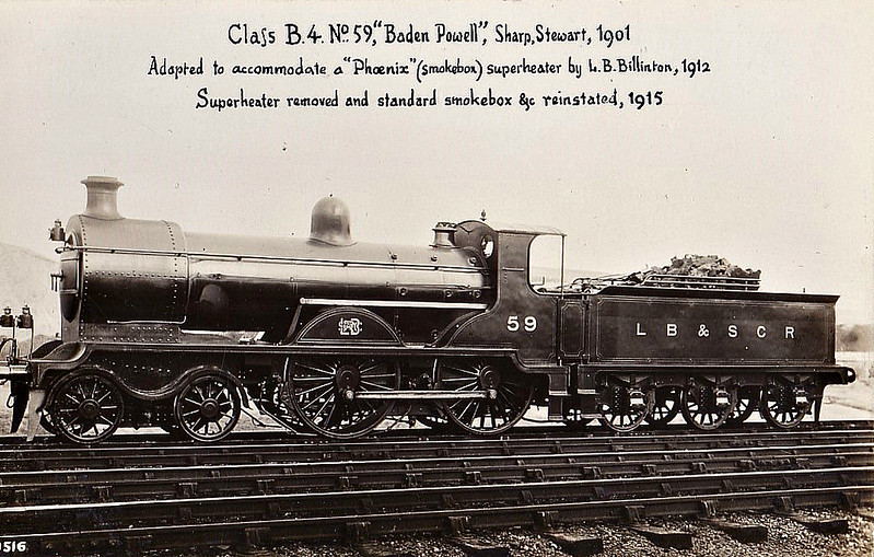 59 BADEN POWELL - Billinton Class B4 4-4-0 - built 08/01 by Sharp Stewart - 1935 cannibalised to rebuild No.2068, remainder scrapped.