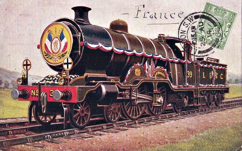 39 LA FRANCE - Marsh LBSCR Class H1 4-4-2 - built 01/06 by Kitson & Co. - 06/13 named LA FRANCE for visit of French President (as seen here) - 01/26 renamed HARTLAND POINT - 1931 to SR No.2039, 08/49 to BR No.32039 - 03/51 withdrawn from 73B Bricklayers Arms.