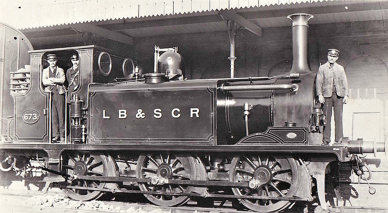 673 - Stroudley Class A1 0-6-0T - built 10/1872 by Brighton Works as LBSCR No.73 DEPTFORD - 1901 to LBSCR No.673 DEPTFORD, 1906 name removed, 02/12/rebuilt as Class A1X, 04/10 sold to Edge Hill Light Railway as No.1 - 1946 withdrawn.
