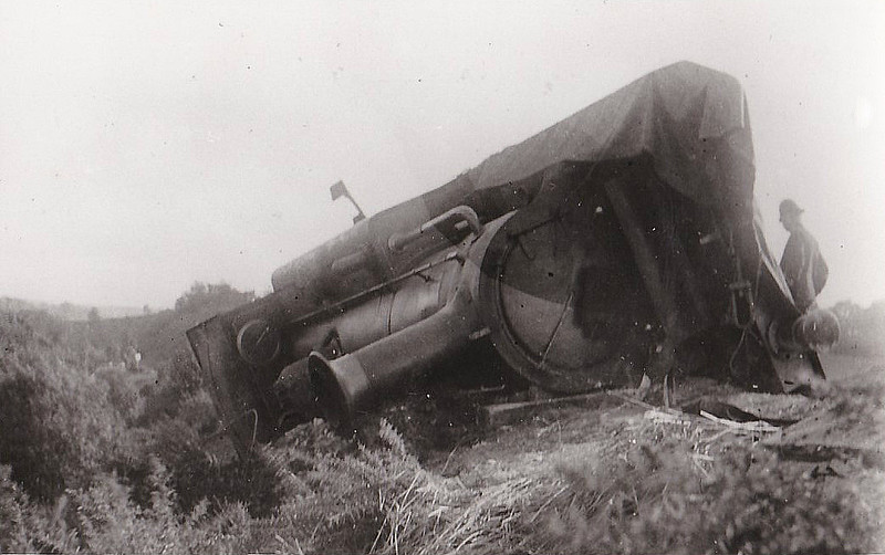 297 BONCHURCH - Stroudley LBSCR Class D1 0-4-2T - built 12/1877 by Brighton Works - 01/09/1897 derailed between Heathfield and Mayfield, driver killed, as seen here - 1931 to SR No.2297 - 09/37 withdrawn from Horsham MPD.