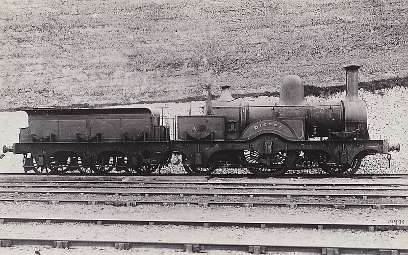490 DIEPPE - Robert Stephenson LBSCR 2-2-2 - built 08/1864 by Brighton Works as LBSCR No.200 - 01/1871 named DIEPPE - 11/1887 to LBSCR No.490 DIEPPE - 04/1896 withdrawn - seen here after withdrawal.