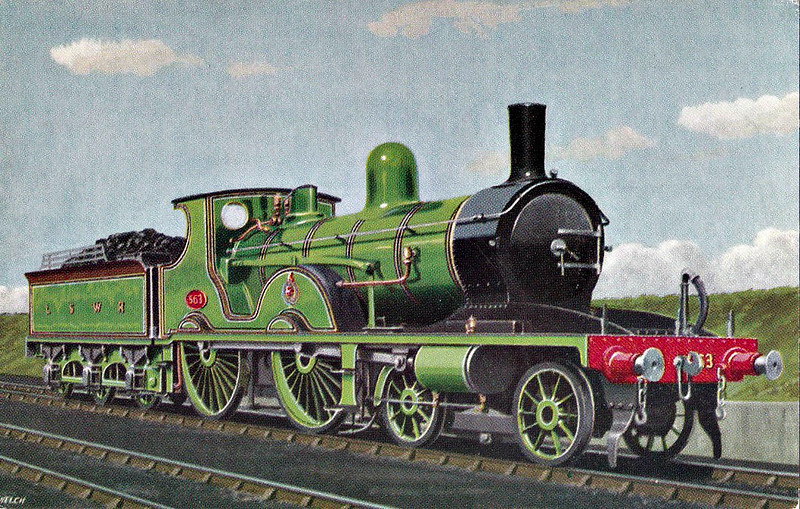 563 - Adams LSWR Class T3 4-4-0 - built 02.1893 by Nine Elms Works - 08/45 withdrawn from Eastleigh MPD - preserved at NRM.