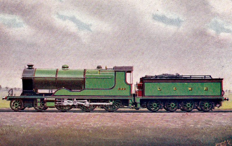 330 - Drummond LSWR Class F13 4-cylinder 4-6-0 - built 09/05 by Nine Elms Works - 06/24 withdrawn - designed for passengers services to Salisbury, the engines were a total failure and were relegated to freight duties.