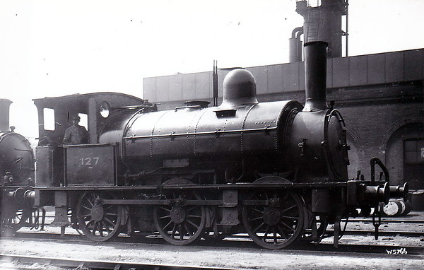 127 - Beattie LSWR Class 0330 0-6-0ST - built 1882 by Beyer Peacock & Co., Works No.2125 - 1911 to LSWR Duplicate List as No.0127 - 1923 to SR as No.E0127 - 1925 withdrawn - 01/26 sold to East Kent Light Railway - 1936 new smokebox fitted in place of original sloping front type - 09/44 withdrawn - 03/46 scrapped at Ashford.