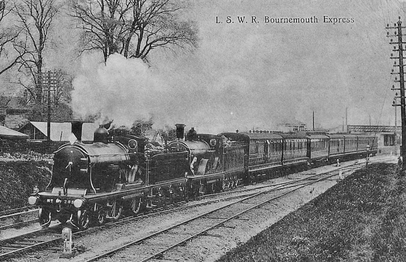 285 - Drummond LSWR Class T9 4-4-0 - built 01/00 by Nine Elms Works - 12/50 to BR No.30285 - 08/58 withdrawn from 71A Eastleigh - seen here on a Bournemouth Express piloting a 2-4-0.
