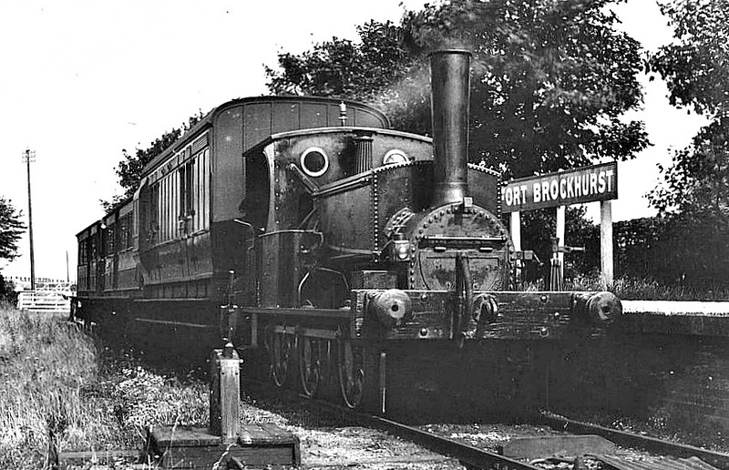 392 LADY PORTSMOUTH - 0-6-0ST - built 1879 by Manning Wardle & Co., Works No.50 - bought second-hand - 1902 to Duplicate List as No.0392 - 1914 withdrawn - seen here at Fort Brockhurst in about 1900.<br /> The Lee-on-the-Solent Light Railway was incorporated to build a 3.5 mile line from Fort Brockhurst station on the LSWR Gosport Branch to Lee-on-the-Solent. When line opened on 12 May 1894 there were intermediate stations at Privett and Browndown. At first the company worked its own line, using locomotives borrowed from the LSWR, but from August 1st 1909 the LSWR took over working the line using railmotors, though the company remained nominally independent. On January 4th, 1923, the Southern Railway reluctantly agreed to take over the company. It closed to passengers on 1 January 1931 and to goods traffic on 30 September 1935. The line was lifted during World War II.