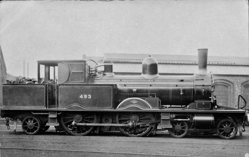 493 - Adams LSWR Class 415 4-4-2T - built 1884 by Dubs & Co. - 1921 withdrawn.