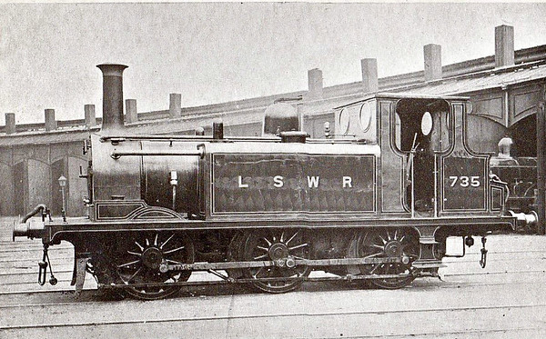 735 - Stroudley LBSCR Class A1 0-6-0T - built 04/1874 by Brighton Works as LBSCR No.68 CLAPHAM - 06/01 to LBSCR No.668, 03/03 sold to LSWR as No.735, 1948 to BR No.30735 - 1953 withdrawn.