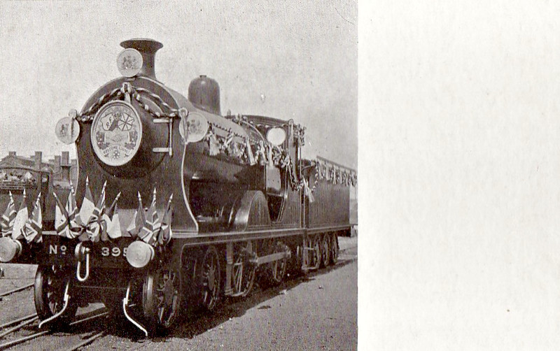 395 - Drummond LSWR Class S11 4-4-0 - built 06/03 by Nine Elms Works - BR No.30395 not applied - 09/51 withdrawn from 71D Fratton - seen here dressed for Royal Train duties.