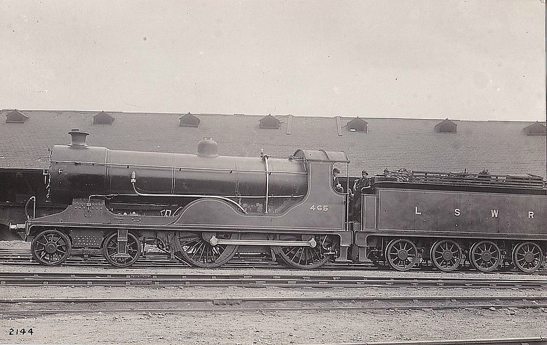 465 - Drummond LSWR Class D15 4-4-0 - built 06/12 by Eastleigh Works - 06/50 to BR No.30465 - 01/56 withdrawn from 71A Eastleigh.