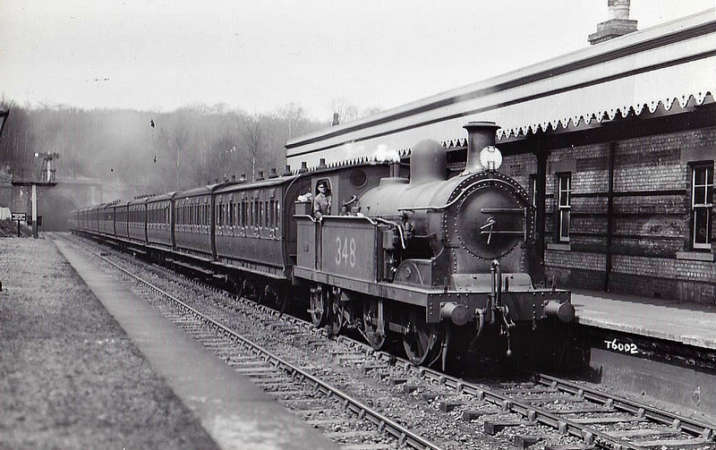 348 - Stirling SER Class Q 0-4-4T - built 08/1889 by Neilson Reid & Co. - 11/14 rebuilt as Class Q1 with Class H boiler - 12/25 withdrawn - seen here at Elmstead Woods.