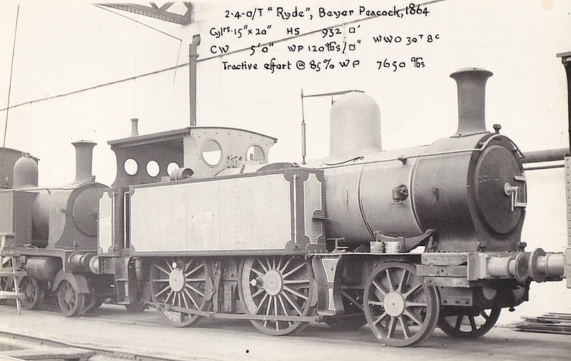 ISLE OF WIGHT RAILWAY - RYDE - IOWR 2-4-0T - built 06/1864 by Beyer Peacock Ltd., Works No.400 - 1923 to SR No.W13 RYDE - 07/32 withdrawn - seen here at Eastleigh Works.