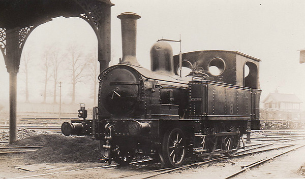 ISLE OF WIGHT CENTRAL RAILWAY - No.8 - IWCR 2-4-0T - built 05/1898 by Beyer Peacock & Co., Works No.3942 - 1923 to SR No.W8 - 11/29 withdrawn - seen here at Newport in April 1926.