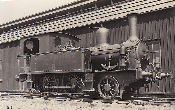 ISLE OF WIGHT CENTRAL RAILWAY - No.8 - IWCR 2-4-0T - built 05/1898 by Beyer Peacock & Co., Works No.3942 - 1923 to SR No.W8 - 11/29 withdrawn - seen here in SR days.