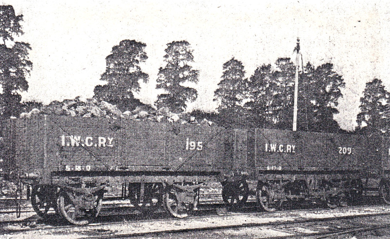 ISLE OF WIGHT CENTRAL RAILWAY - Open Wagons - presumably new stock at the time - very old copy of a picture in a 1903 Railway Magazine.