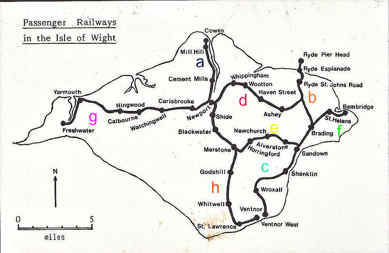 AN ATTEMPT TO EXPLAIN THE RAILWAY HISTORY OF THE ISLE OF WIGHT :- Considering that this is an island that is smaller than Rutland when the tide's in, they managed to jam 55.5 miles of railway into it somehow by 1900.<br /> a - Cowes & Newport Railway - June 1862<br /> b - Isle of Wight Railway - Ryde to Shanklin, 1864.<br /> c - Isle of Wight Railway - Shanklin to Ventor, 1866.<br /> d - Ryde & Newport Railway - December 1875.<br /> e - Isle of Wight (Newton Junction) Rly - Sandown to Newport - 1879.<br /> f - Isle of Wight Railway - Bembridge to Brading - 1882.<br /> g - Freshwater, Yarmouth & Newport Railway - 1889.<br /> h - Newport, Godshill & St Lawrence Railway - Merstone to Ventnor West, 1900.<br /> The line from Ryde Pier Head to Ryde St Johns was built by the LSWR/LBSCR in 1877.