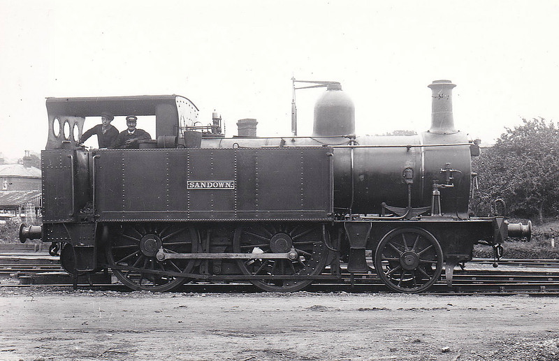 ISLE OF WIGHT RAILWAY - SANDOWN - IOWR 2-4-0T - built 06/1864 by Beyer Peacock Ltd, Works No.401 - 09/23 withdrawn, SR number not applied.