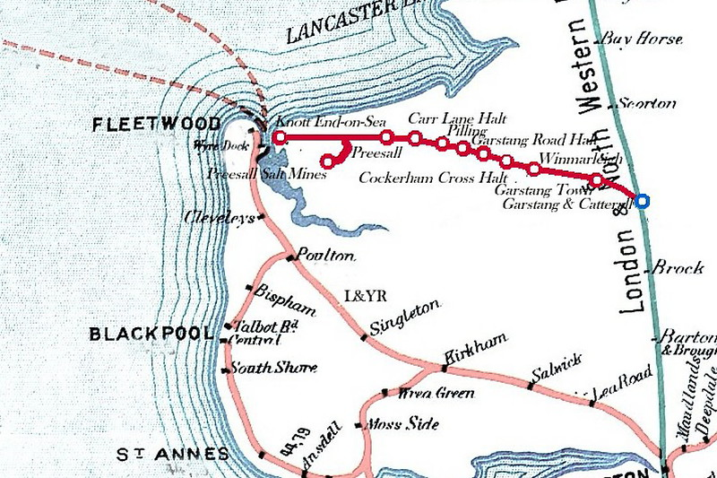 A route map of the G&KER. Unfortunately, Knott-End-on-Sea was not destined to become a second Blackpool, despite the ambitions of the railway.