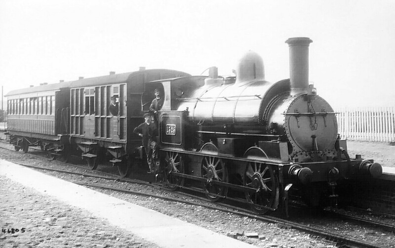 1325 - Ramsbottom LNWR 'Special Tank' 0-6-0ST - built 1875 by Crewe Works - later to Duplicate List as No.3090 and 3368 but was numbered 1197 at Grouping - 1923 to LMS as No.7321 - 1930 withdrawn. Seen here on the Garstang & Knott End at Knott End in about 1905 I'd guess, perhaps hired in to cover a loco shortage.