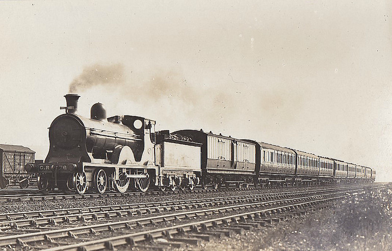 766 - McIntosh CR Class 766 'Dunalastair II' 4-4-0 - built 1897 by St Rollox Works - 1923 to LMS No.14430 - 1936 withdrawn - seen here on a Liverpool/Manchester - Glasgow express.