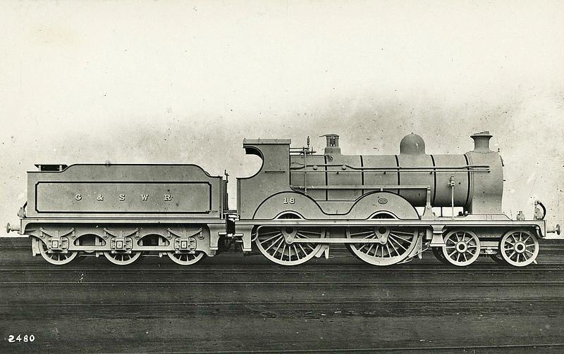 18 - Manson GSWR Class 18 4-4-0 - built 06/07 by Kilmarnock Works, Works No.406 - 1919 to GSWR No.337, 1293 to LMS No.14366 - 10/32 withdrawn.