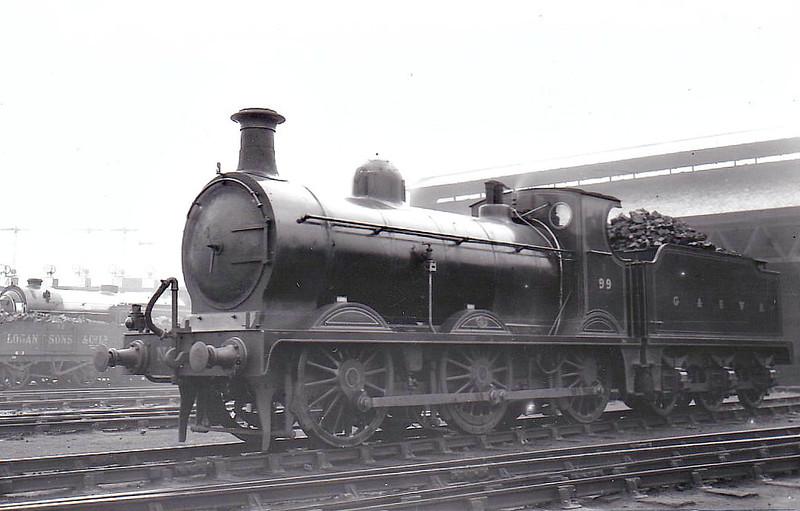 99 - Smellie GSWR Class 22 0-6-0 - built 12/1891 by Kilmarnock Works - 01/16 to Duplicate List as No.99A - 1919 to GSWR No.587, 1923 to LMS No.17156 - 1932 withdrawn.
