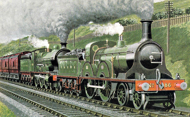 86 - Smellie GSWR Class 153 4-4-0 - built 03/1888 by Kilmarnock Works - 1919 to GSWR No.460, 1923 to LMS No.14152 - 09/25 withdrawn - seen here piloting a 4-6-0 on a Glasgow St Enoch - St Pancras express