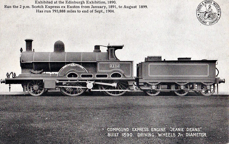 1304 JEANNIE DEANS - Webb LNWR 'Teutonic' Class 2-2-2-0 - built 03/1890 by Crewe Works - 09/06 withdrawn - note that she is wearing here Works number plates in this official picture.