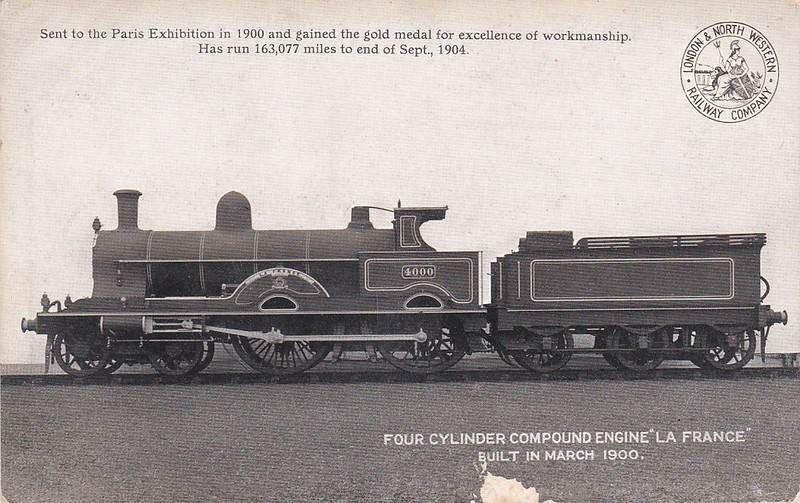 1926 LA FRANCE - Webb LNWR 'Jubilee' Class Compound 4-4-0 - built 03/00 by Crewe Works - 03/22 rebuilt by Whale as 2-cylinder simple - 1923 to LMS No.5180 - all withdrawn by 1925 - note that she is wearing here Works number plates in this official picture.