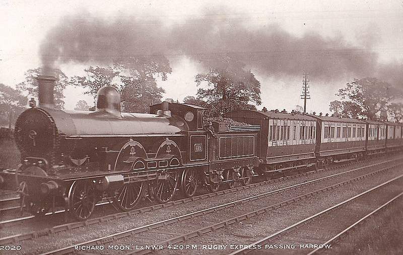 528 RICHARD MOON - Webb LNWR 'Greater Britain' Class 2-2-2-2 - built 1894 by Crewe Works - 1906 withdrawn - seen here passing Harrow on the 4.20pm Rugby Express.