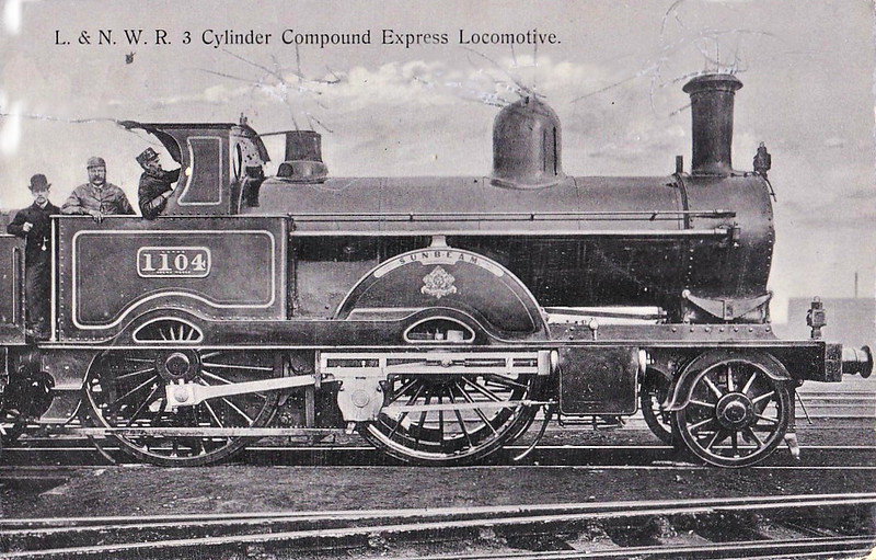 1104 SUNBEAM - Webb LNWR 'Experiment' Class Compound 2-2-2-0 - built 06/1884 by Crewe Works - 01/05 withdrawn - posted October 1st, 1904.