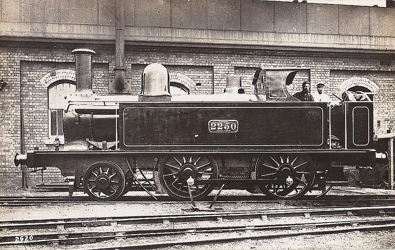 2250 - Webb LNWR 'Chopper Tank' 2-4-0T - built 12/1876 by Crewe Works - seen here at Monument Lane MPD - in the 1890's, 40 were rebuilt to 2-4-2T's whilst the remaining 10 worked on the Cromford & High Peak - I suspect that this may have been one of the latter and broken up before the Grouping as it did not receive an LMS No.