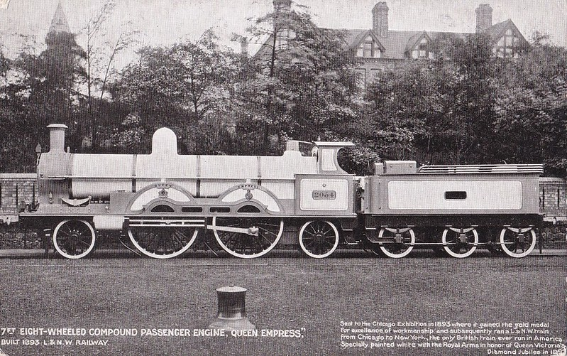 2054 QUEEN EMPRESS - Webb LNWR 'Greater Britain' Class 3-cylinder Compound 2-2-2-2 - built 1892 by Crewe Works - all withdrawn by 1906.