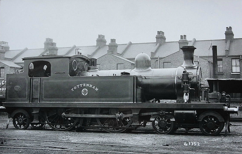 34 TOTTENHAM - Whitelegg LTSR Class 1 4-4-2T - built 1892 by Nasmyth Wilson & Sons - 1912 to MR No.2143, 1930 to LMS No.2064 - 1930 withdrawn.