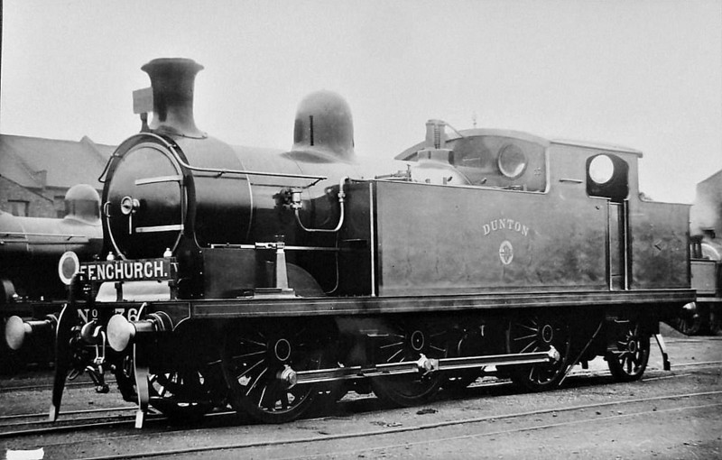 76 DUNTON - Whitelegg LTSR Class 69 0-6-2T - built 1908 by North British Loco Co. - 1912 to MR No.2187, 1923 to LMS No.2227, 1939 to LMS No.2187, 1947 to LMS No.1987, 09/50 to BR No.41987 - 03/59 withdrawn from 33A Plaistow.