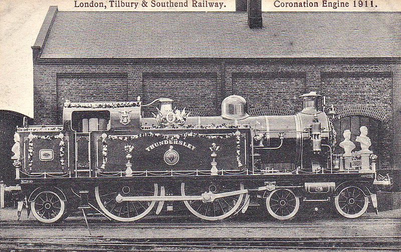 80 THUNDERSLEY - Whitelegg LTSR Class 79 3P 4-4-2T - built 05/09 by Robert Stephenson & Hawthorn Ltd as LTSR No.80 SOUTHEND ON SEA - renamed THUNDERSLEY shortly after completion - 1912 to MR No.2177, 1930 to LMS No.2148, 05/48 to BR No.41966 - 06/56 withdrawn from 18A Toton - preserved - seen here as decorated for the 1911 Coronation of King George V.