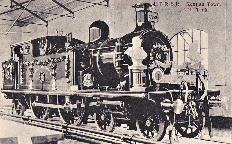 61 KENTISH TOWN - Whitelegg Class 51 4-4-2T - built 1900 by Sharp Stewart & Co. - 1912 to MR No.2168, 1930 to LMS No.2102 - BR No.41920 not applied - 06/49 withdrawn from 18C Hasland - seen here as decorated for the 1911 Coronation of King George V.